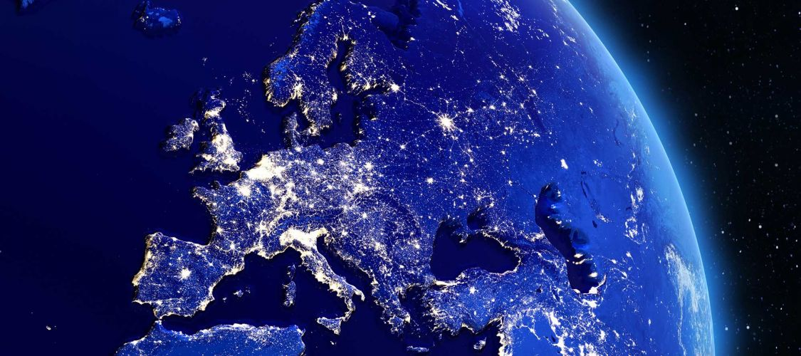 Satellite picture of Europe at night ©shutterstock